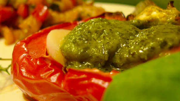 Scallop-stuffed Roast Bell Peppers with Pesto