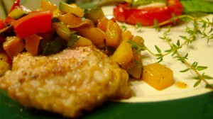 Veal Scallop with sauteéd vegetables